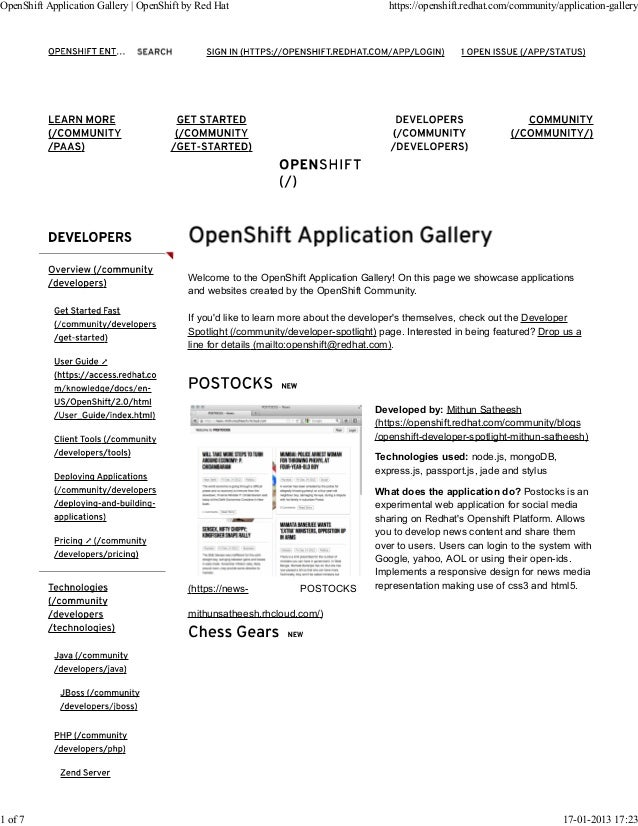 OpenShift Application Gallery   OpenShift by Red Hat                                  https://openshift.redhat.com/communi...
