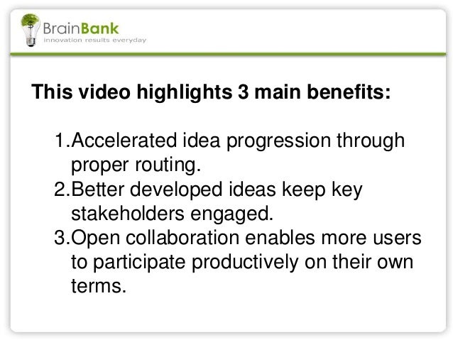 This video highlights 3 main benefits: 1.Accelerated idea progression through proper routing. 2.Better developed ideas kee...