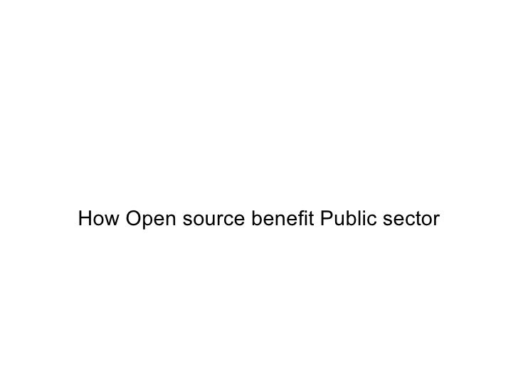 How Open source benefit Public sector
