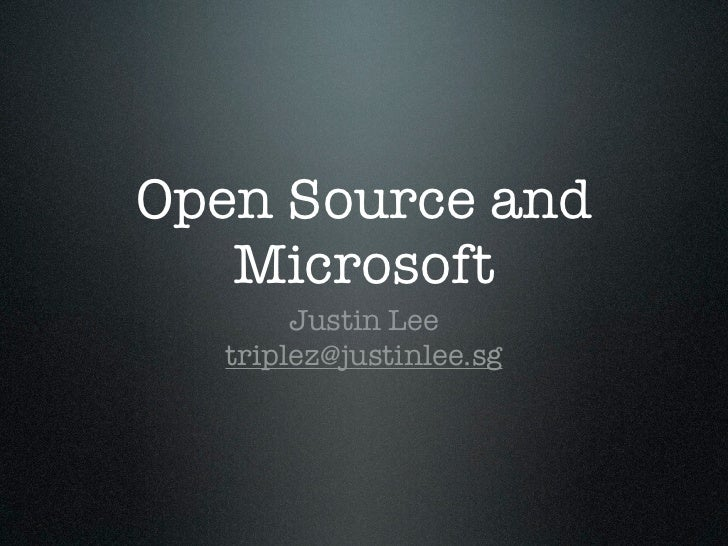 Open Source and Microsoft