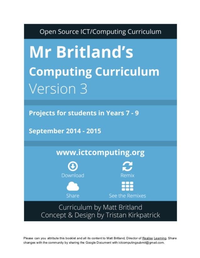 Mr Britland's Open Source KS3 Computing Curriculum