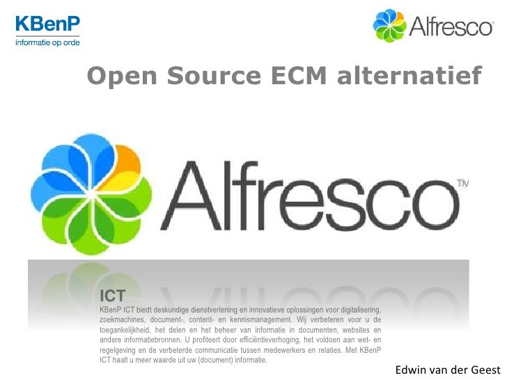 Open Source ECM Alternatief Alfresco