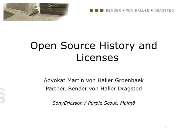 Open Source History And Licenses (15 04 2009)