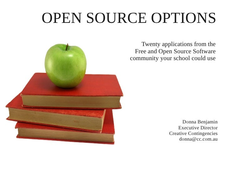 OPEN SOURCE OPTIONS             Twenty applications from the           Free and Open Source Software         community you...