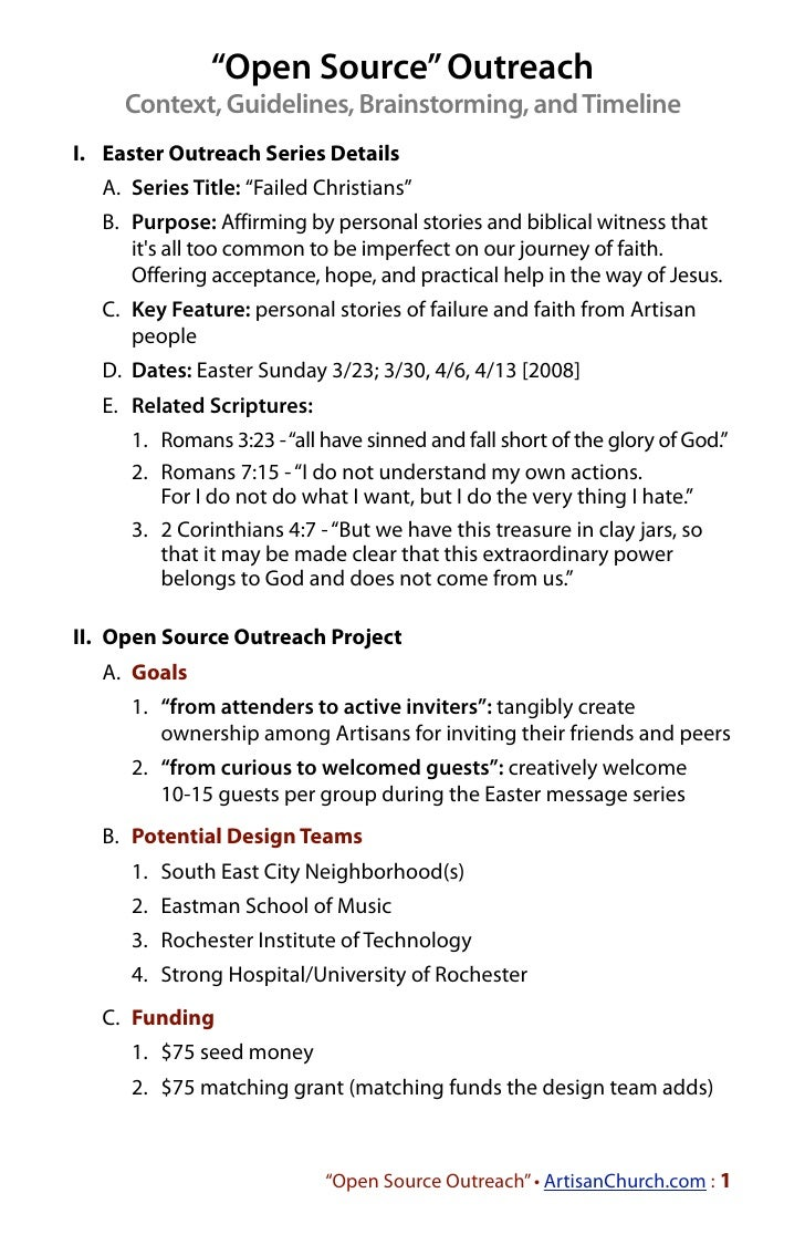 """""""Open Source"""" Outreach     Context, Guidelines, Brainstorming, and TimelineI. Easter Outreach Series Details  A. Series Ti..."""