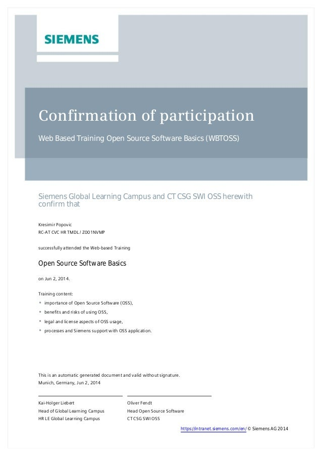 Confirmation of participation Web Based Training Open Source Software Basics (WBTOSS) Siemens Global Learning Campus and C...