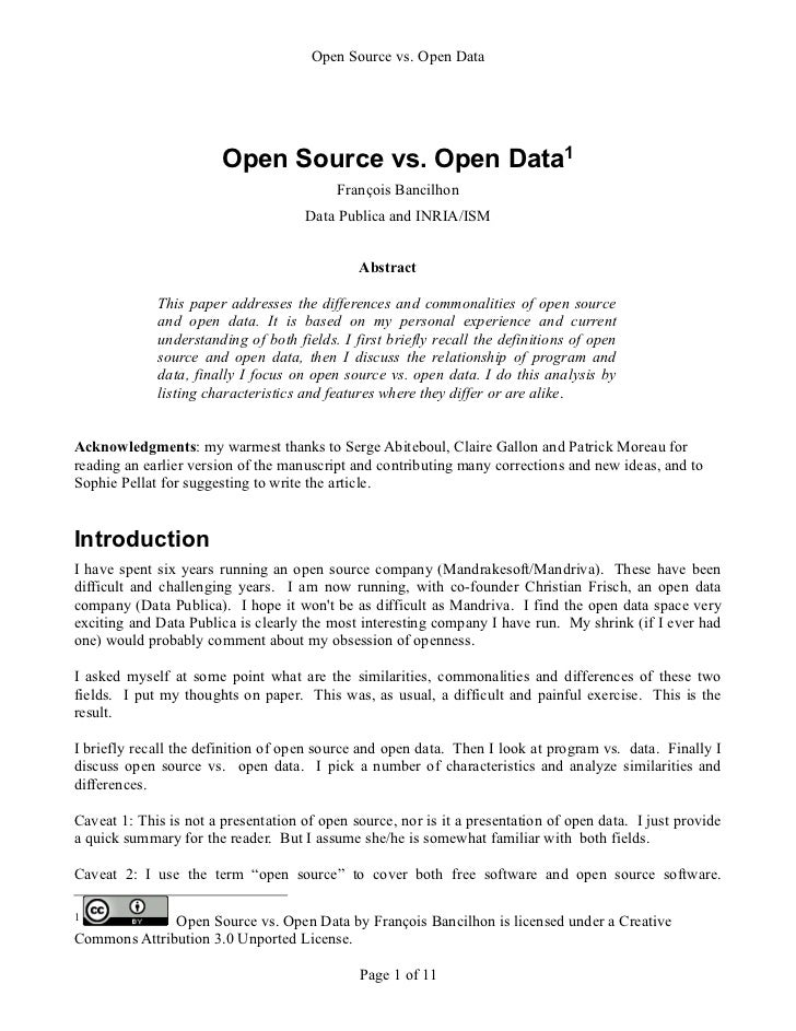 Open Source vs. Open Data                        Open Source vs. Open Data1                                           Fran...