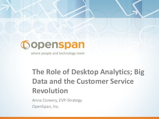 The Role of Desktop Analytics; Big Data and the Customer Service Revolution Anna Convery, EVP-Strategy OpenSpan, Inc.