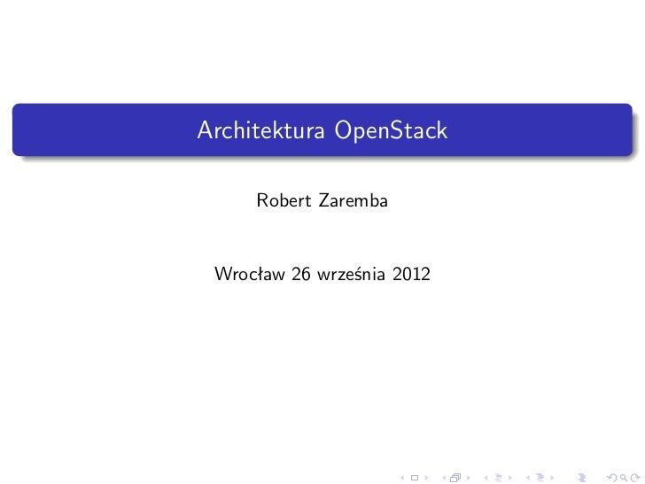 Architektura OpenStack     Robert Zaremba Wrocław 26 września 2012