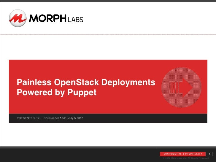 Painless OpenStack DeploymentsPowered by PuppetPRESENTED BY : Christopher Aedo, July 5 2012                               ...