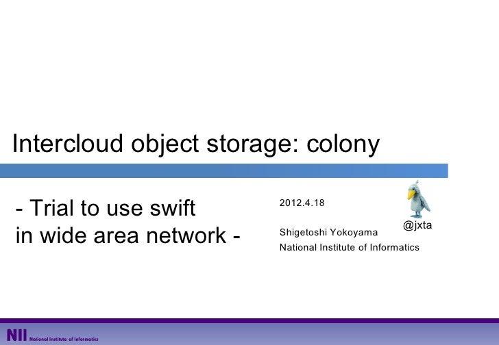 OpenStack design summit (colony session)