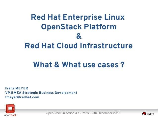 Red Hat Enterprise Linux OpenStack Platform & Red Hat Cloud Infrastructure What & What use cases ? Franz MEYER VP, EMEA St...