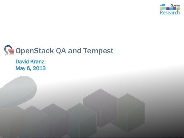 OpenStack QA and TempestDavid KranzMay 6, 2013Monday, May 06, 2013