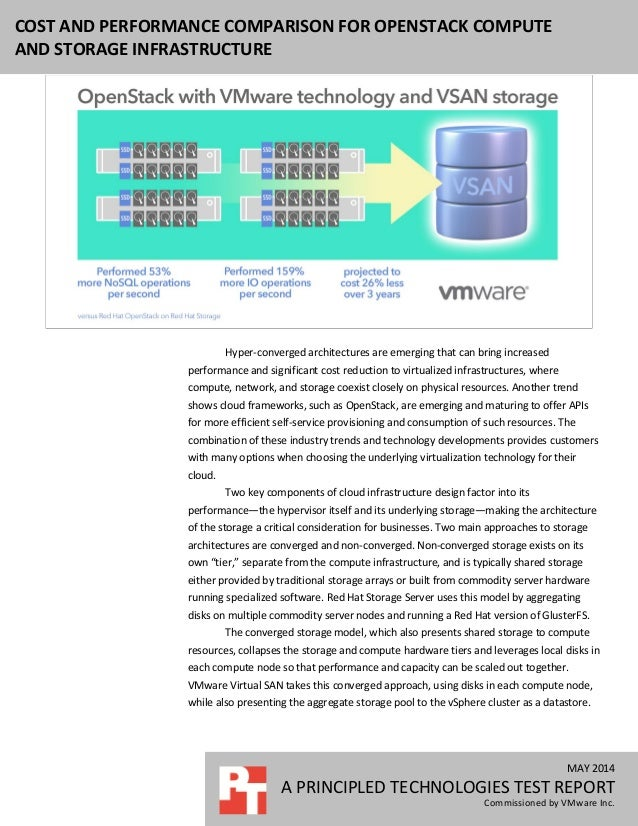 Cost and performance comparison for OpenStack compute and storage infrastructure