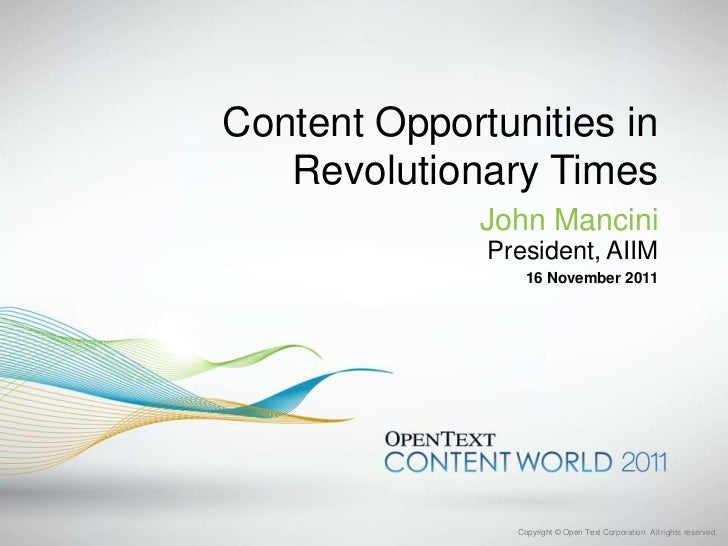Content Opportunities in Revolutionary Times