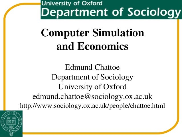 economics simulation paper A simulation is an imitation of the operation of a real-world process or system[1] the act of simulating something first requires that a model be developed this model represents the key characteristics, behaviors and functions of the selected physical or abstract system or process the model represents the system itself, whereas the.