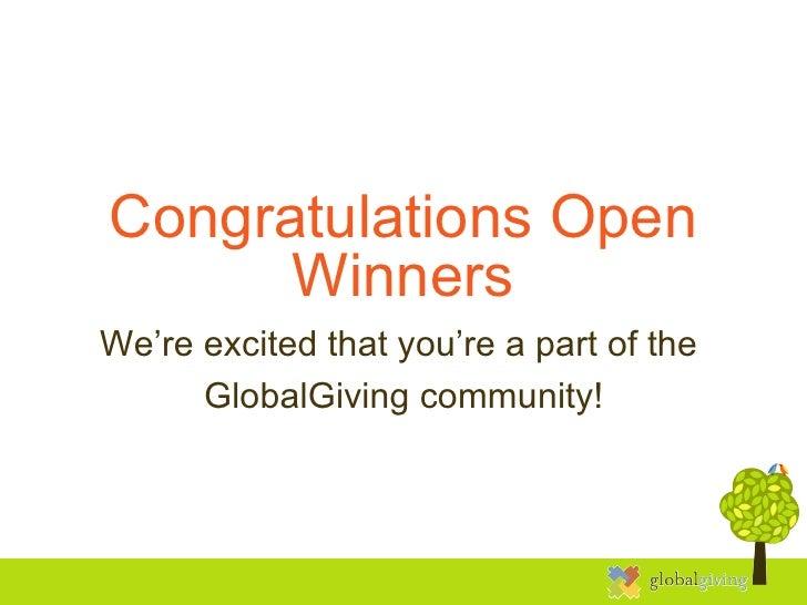 Open Challenge Winners' Welcome
