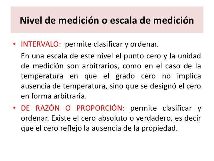 Las Escalas de Medicion Nivel de Medición o Escala de