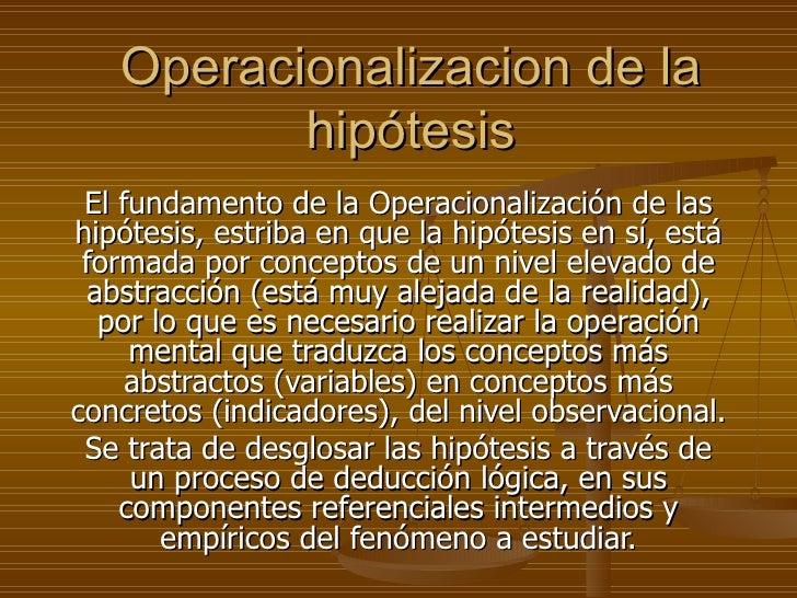Operacionalizacion De La HipóTesis