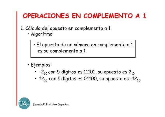 OPERACIONES EN COMPLEMENTO A 1 1. Cálculo del opuesto en complemento a 1 • Algoritmo: • El opuesto de un número en complem...