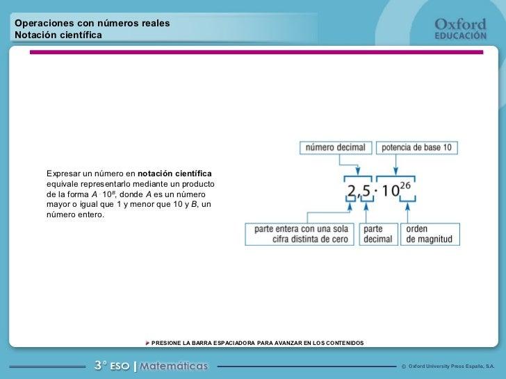 Operaciones con números reales Notación científica Expresar un número en  notación científica  equivale representarlo medi...
