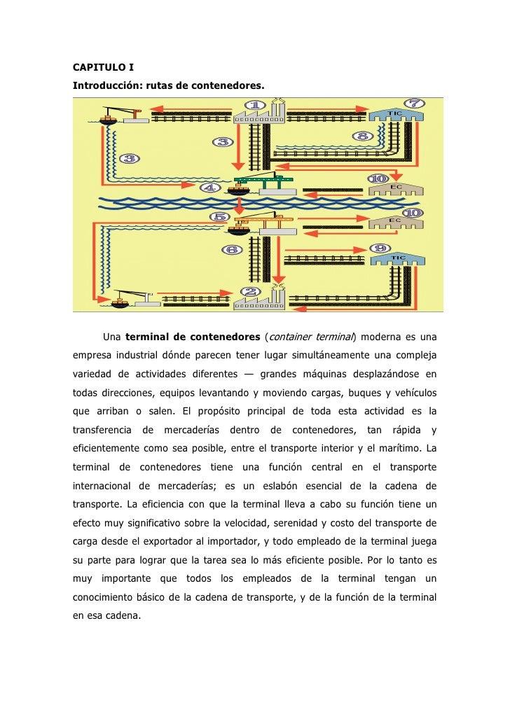 CAPITULO I Introducción: rutas de contenedores.           Una terminal de contenedores (container terminal) moderna es una...