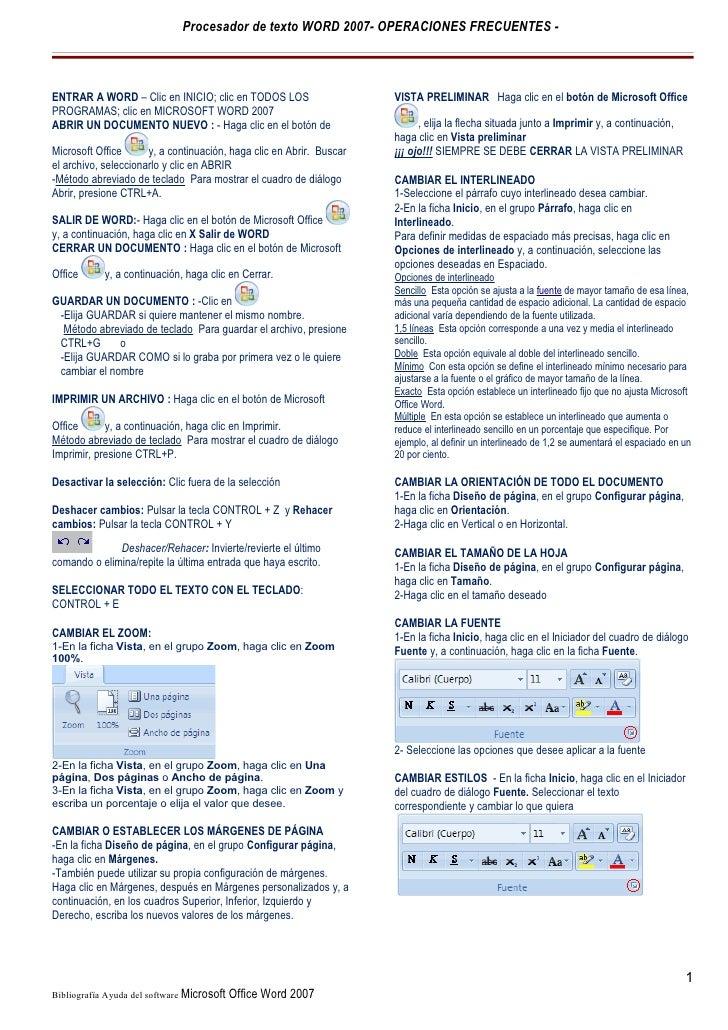 Procesador de texto WORD 2007- OPERACIONES FRECUENTES -ENTRAR A WORD – Clic en INICIO; clic en TODOS LOS                  ...