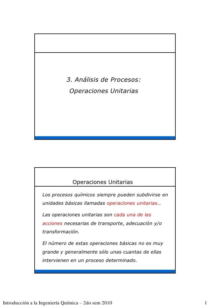 3. Análisis de Procesos:                               Operaciones Unitarias                                Operaciones Un...