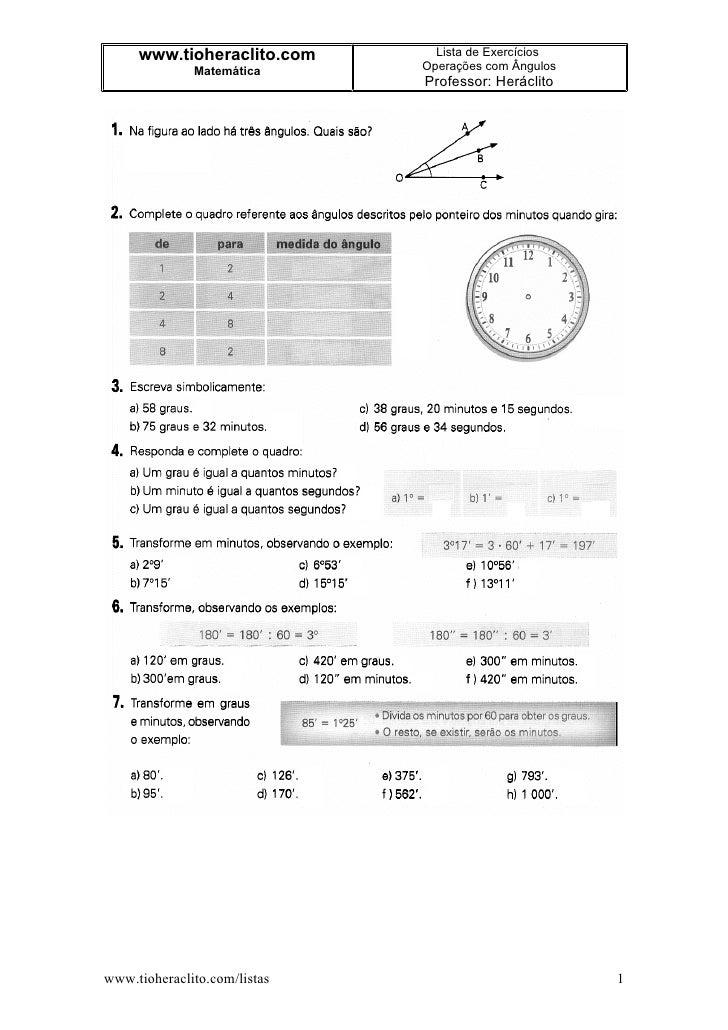 www.tioheraclito.com       Lista de Exercícios               Matemática      Operações com Ângulos                        ...