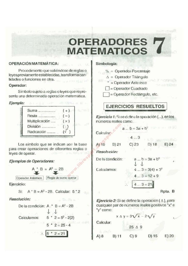 OPERACiÓN MATEMATlCA:                                                OPERADORES                                           ...