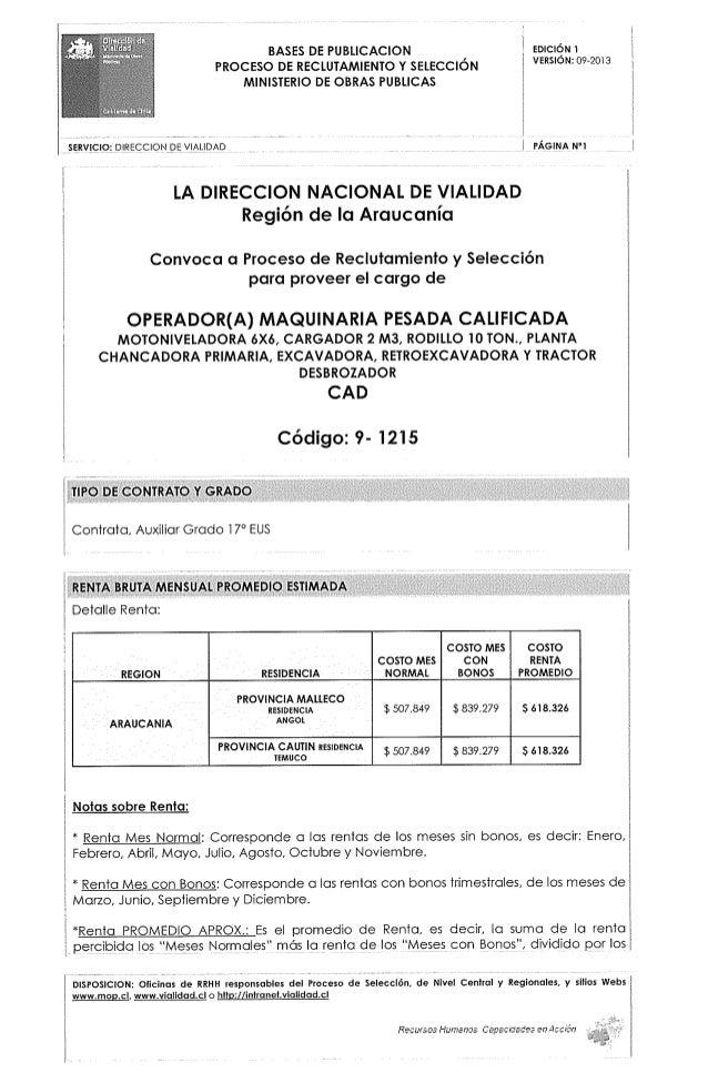 """BASES DE PUBLICACION  evrcrcêm  PROCESO DE RECLUTAMIENTO Y SELECCIÓN  V""""5'°""""= °°'2°'3 2 MINISTERIO DE OBRAS PUBLICAS i 1  ..."""