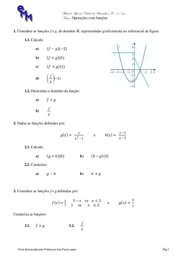 Ficha de Apoio ao Estudo da Matemática A – 11º ano Tema: Operações com funções Ficha Estruturada pela Professora Ana Paula...