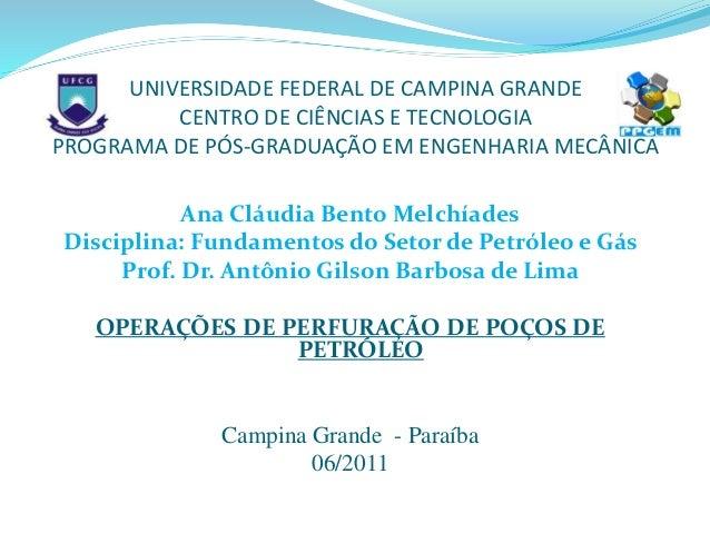 UNIVERSIDADE FEDERAL DE CAMPINA GRANDE CENTRO DE CIÊNCIAS E TECNOLOGIA PROGRAMA DE PÓS-GRADUAÇÃO EM ENGENHARIA MECÂNICA An...