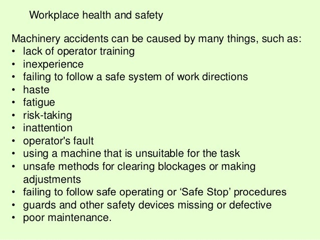 Machinery Health And Safety Workplace Health And Safety