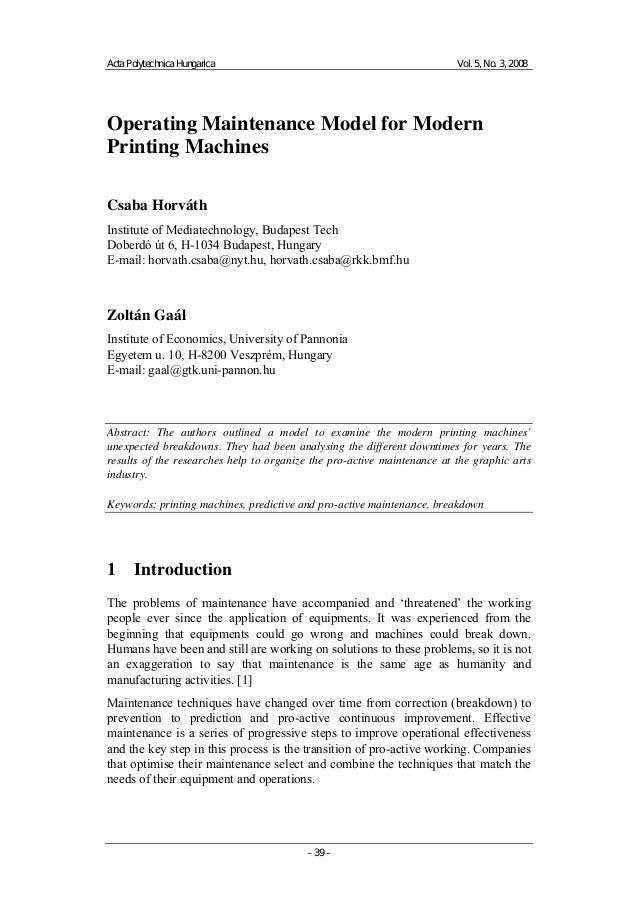 Operating Maintenance Model for Modern Printing Machines
