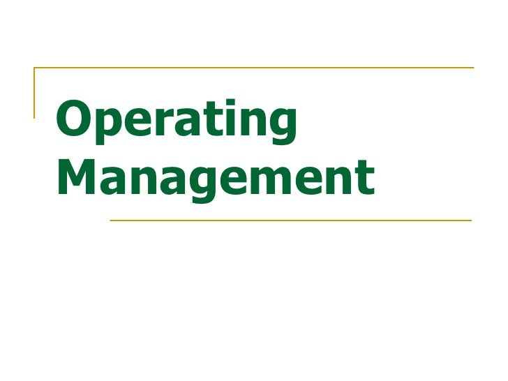 Operating Management