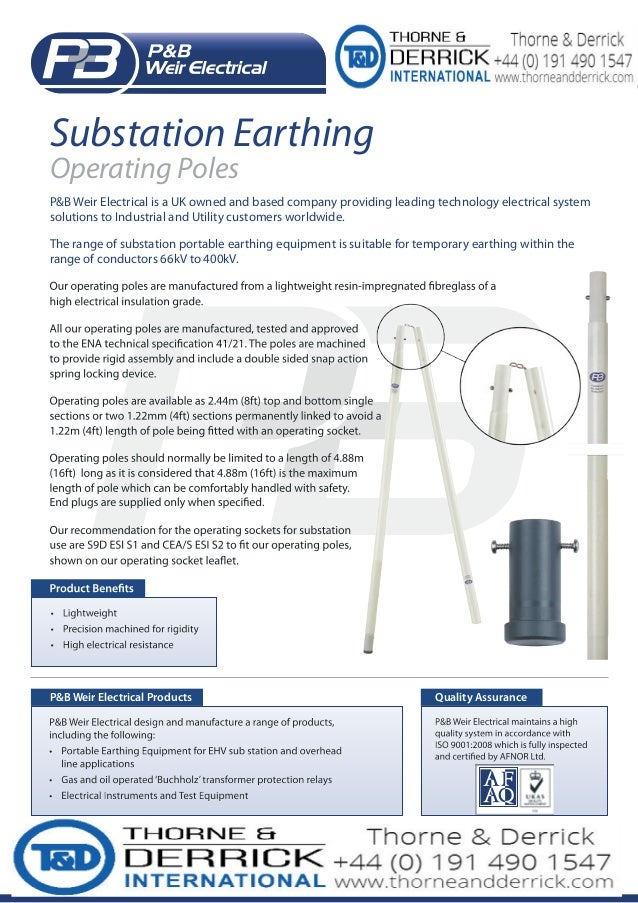 High Voltage Operator : Operating poles pb weir substation earthing