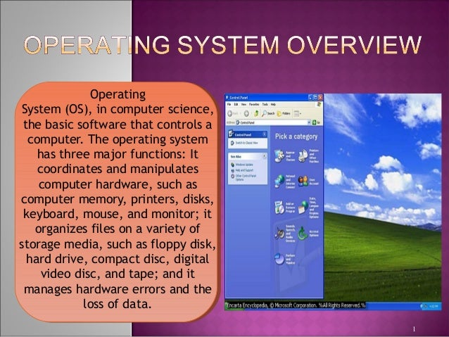 Operating System(OS),incomputerscience, the basic software that controls a computer. The operating system has three ma...