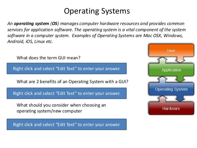 Operating Systems An operating system (OS) manages computer hardware resources and provides common services for applicatio...