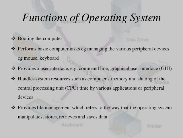 the four major functions of an operating system essay An operating system is computer software that manages hardware and other software some operating system examples include windows, macos, and linux.