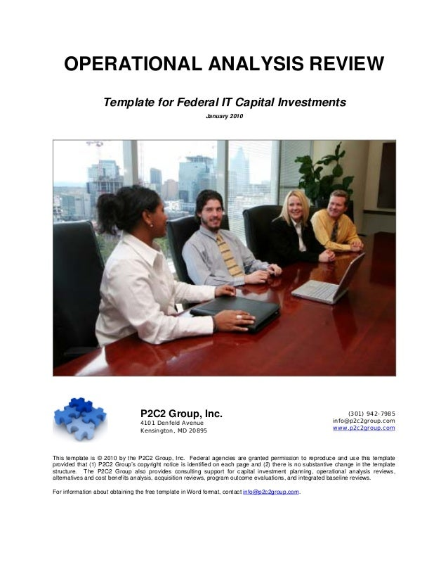 OPERATIONAL ANALYSIS REVIEW                  Template for Federal IT Capital Investments                                  ...