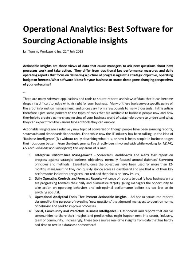 Operational Analytics: Best Software For Sourcing Actionable Insights 2013