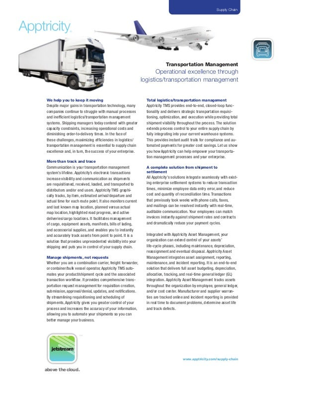 Operational excellence through transportation management by apptricity