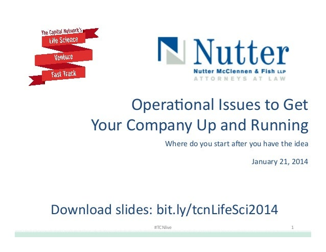 Opera&onal  Issues  to  Get    Your  Company  Up  and  Running   Where  do  you  start  a;er  ...