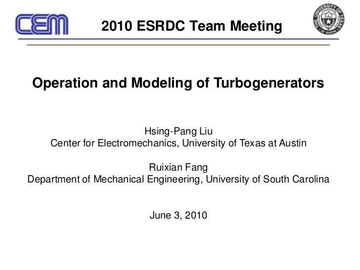 Operation and Modeling of Turbogenerators - Hsing-pang Liu - June 2010