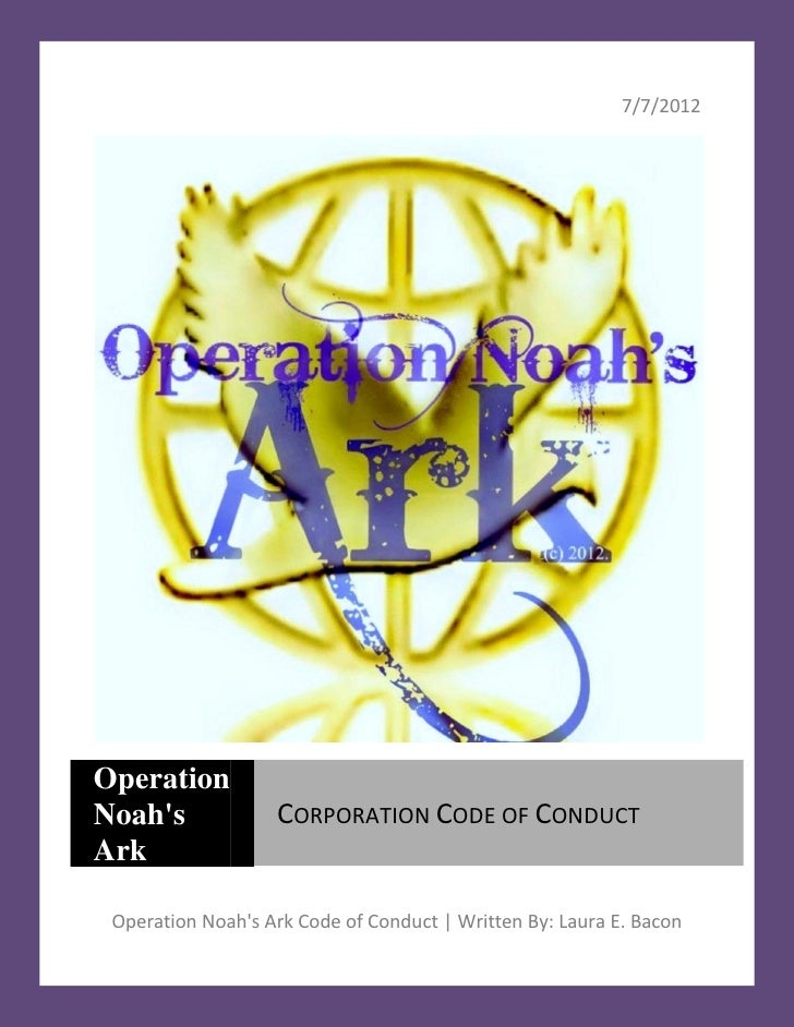 Operation noahs ark code of conduct