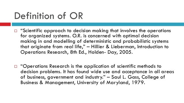 Methodology of operations research