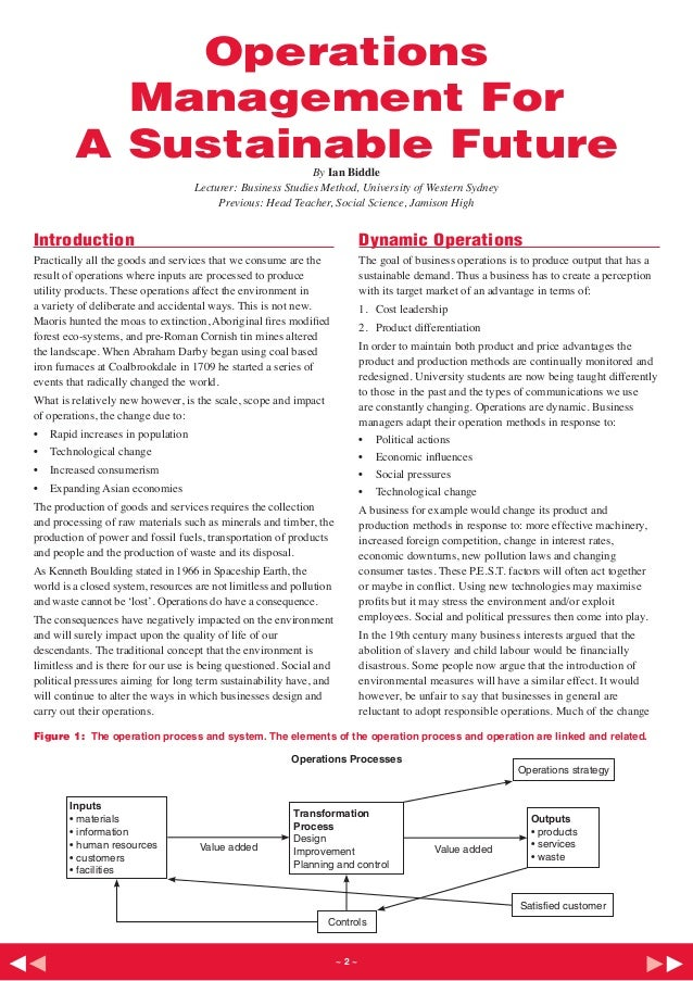 Operations           Management For         A Sustainable Future                                By Ian Biddle             ...