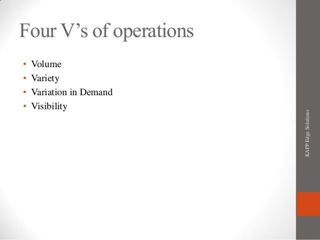 Four Operations Four V's of Operations•