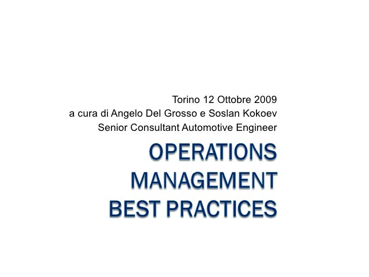 Operations Management Best Practices   Industrial Consulting